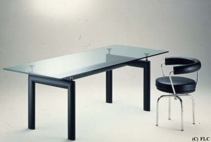 Le Corbusier Glass Top Dining Table LC6